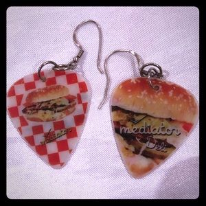 Vintage guitar pick earrings